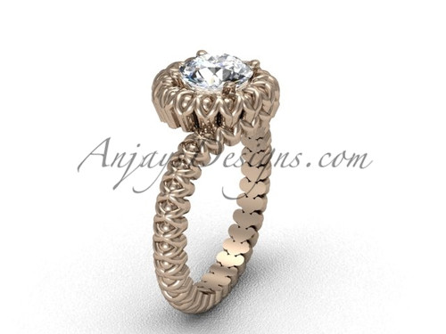 Vintage Rose Gold No Diamond Engagement Ring VD1006