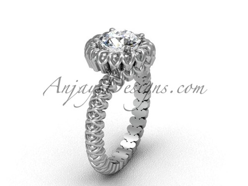 Solitaire Moissanite White Gold Engagement Ring VD1006