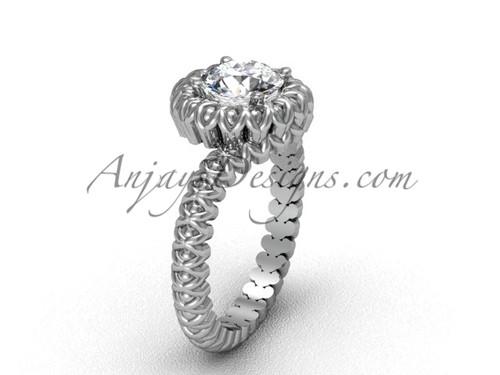 Solitaire Moissanite Platinum Engagement Ring VD1006