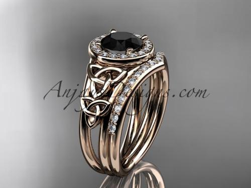 14kt rose gold diamond celtic trinity knot wedding ring, engagement set with a Black Diamond center stone CT7131S