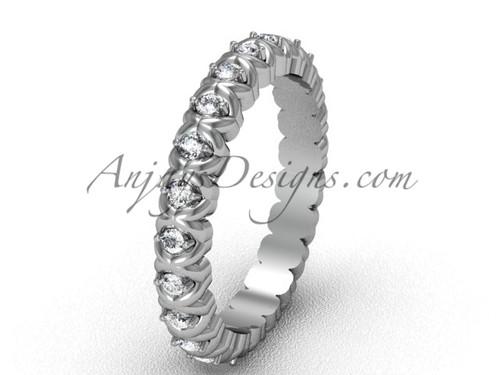 Unique Diamond Solitaire Engagement Ring White Gold VD1009