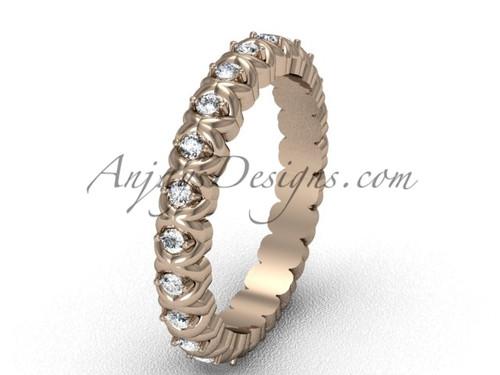 Unique Diamond Solitaire Engagement Ring Rose Gold VD1009