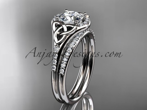 """14kt white gold diamond celtic trinity knot wedding ring, engagement set with a """"Forever One"""" Moissanite center stone CT7126S"""