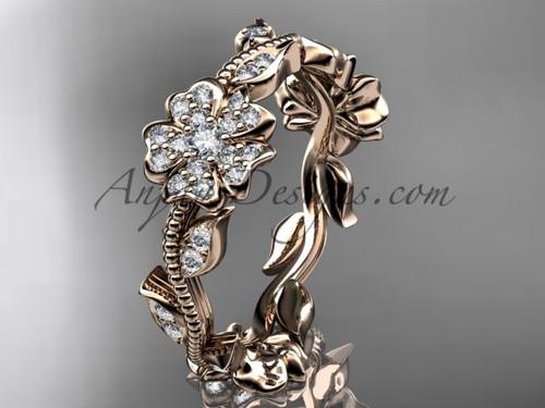 14kt rose gold diamond Sakura  wedding band VD8004