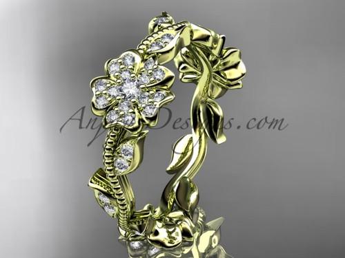 14kt yellow gold diamond Sakura  wedding band VD8004