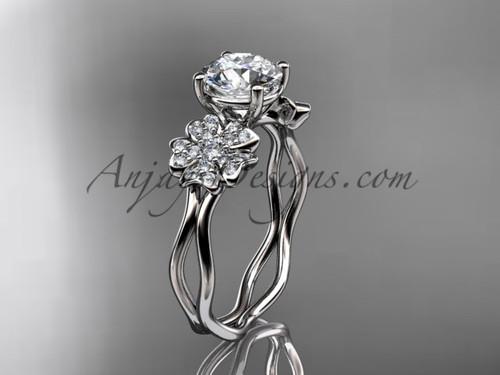 White Gold Cherry Blossom Flower Engagement Ring VD8019