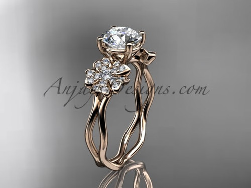 Rose Gold Cherry Blossom Flower Engagement Ring VD8019