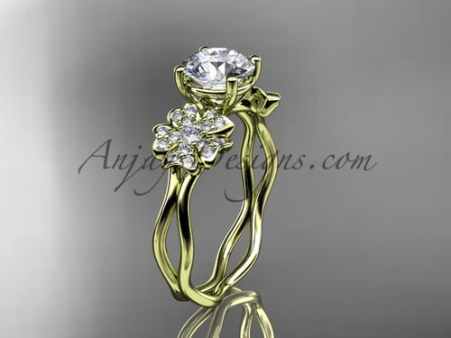 Yellow Gold Cherry Blossom Flower Engagement Ring VD8019