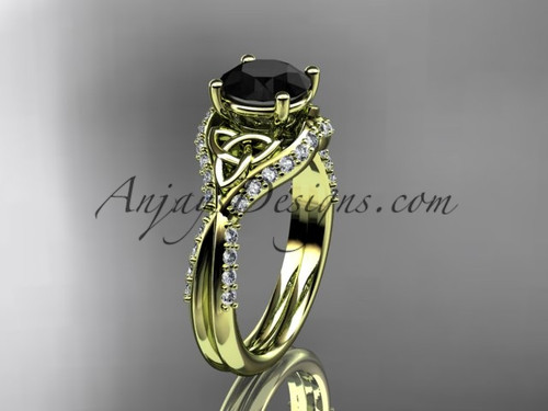 14kt yellow gold diamond celtic trinity knot wedding ring, engagement ring with a Black Diamond center stone CT7224