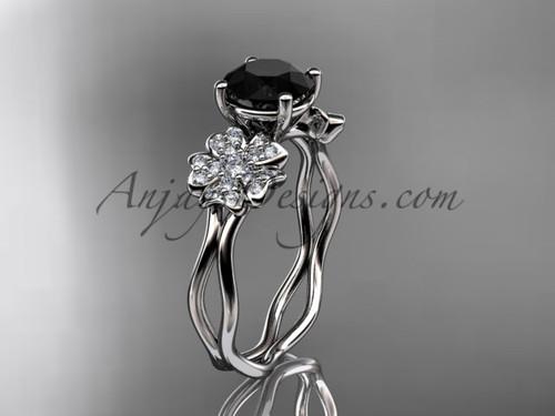 Black Diamond White Gold Blossom Engagement Ring VD8019