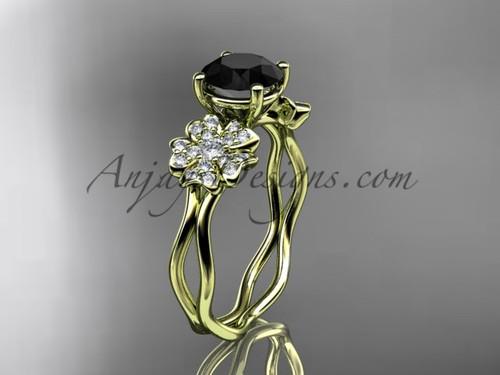 Black Diamond Yellow Gold Blossom Engagement Ring VD8019