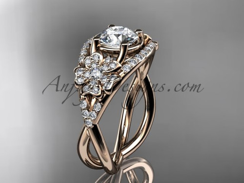 Cherry Blossom Engagement Ring - Rose Gold Ring VD8088