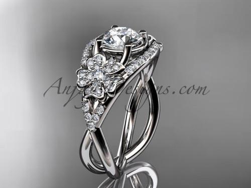 White Gold Moissanite Cherry Blossom Engagement Ring VD8088