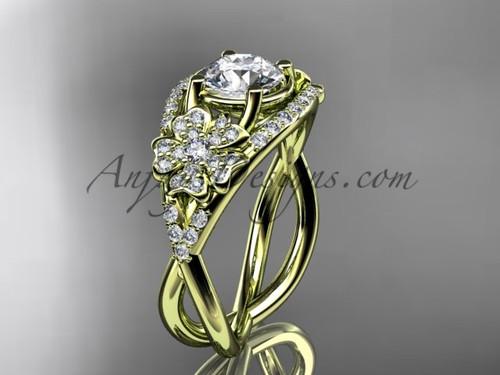 Yellow Gold Moissanite Cherry Blossom Engagement Ring VD8088