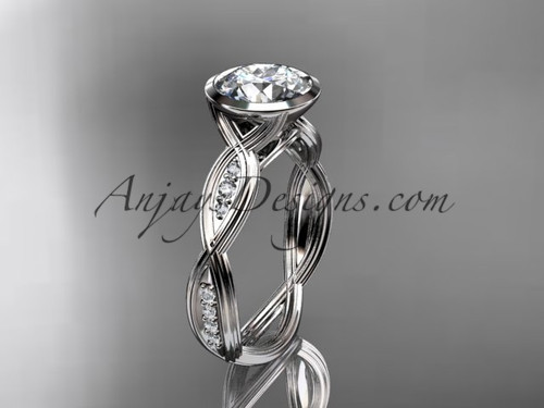 "14k white gold diamond  wedding ring,engagement ring with  ""Forever One"" Moissanite center stone ADLR24"