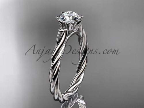 14kt white gold rope engagement ring RP835