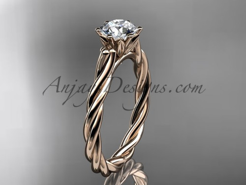 14kt rose gold rope engagement ring RP835