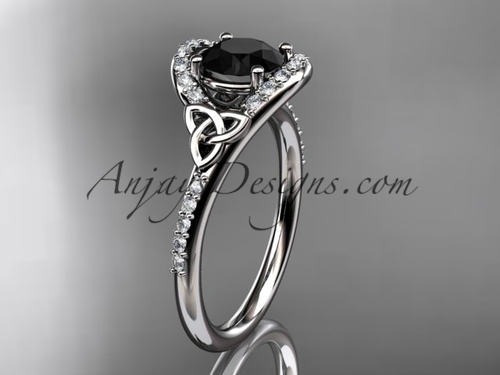 Platinum Black Diamond Celtic Trinity Wedding Ring CT7317