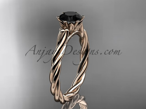 14k rose gold rope engagement ring with a Black Diamond center stone RP835