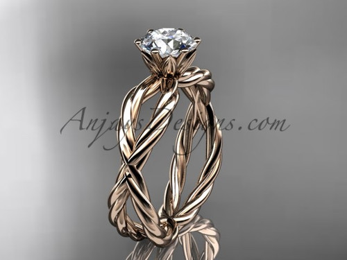 "14k rose gold rope engagement ring with a ""Forever One"" Moissanite center stone RP870"