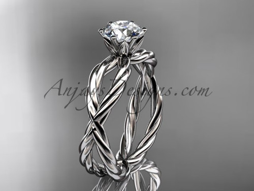 "Platinum rope engagement ring with a ""Forever One"" Moissanite center stone RP870"
