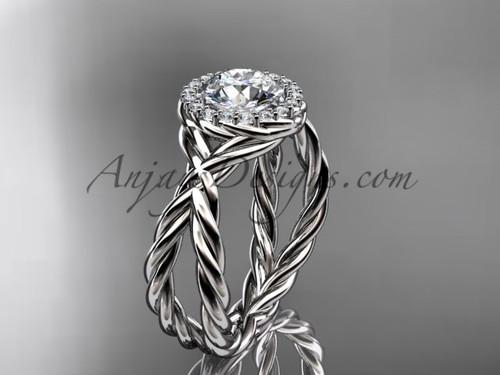 platinum diamond rope engagement ring RP889