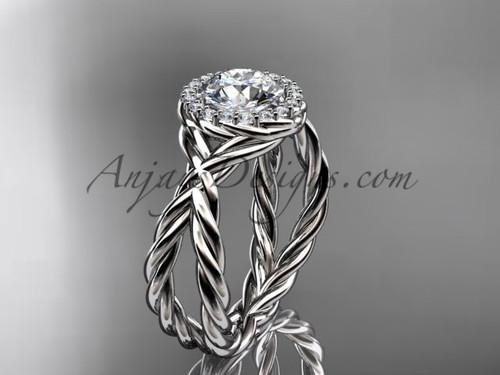 """platinum diamond rope engagement ring with a """"Forever One"""" Moissanite center stone RP889"""