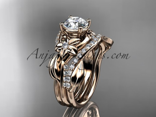 """Unique 14k rose gold diamond flower, leaf and vine wedding ring, engagement set with a """"Forever One"""" Moissanite center stone ADLR224S"""
