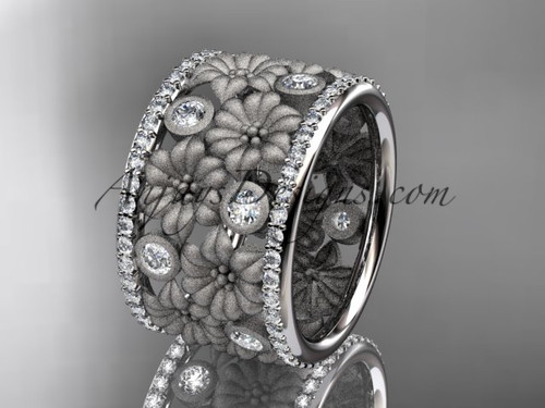 14k white gold diamond flower wedding band, engagement ring ADLR232B