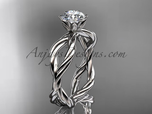 "14kt white gold ""Forever One"" Moissanite rope engagement ring RP8100"