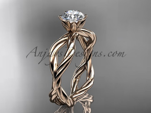 "14kt rose gold ""Forever One"" Moissanite rope engagement ring RP8100"