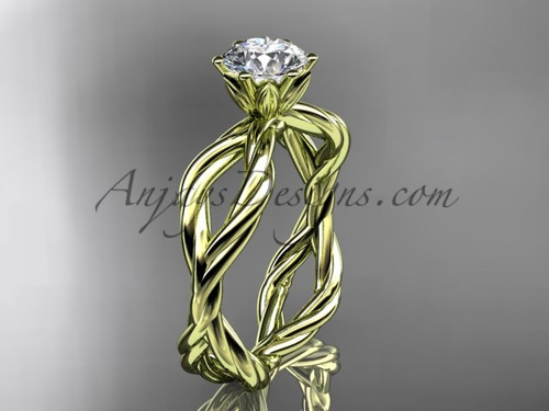 14kt yellow gold One Moissanite rope engagement ring RP8100