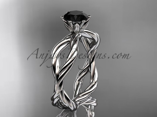 14kt white gold Black Diamond rope engagement ring RP8100