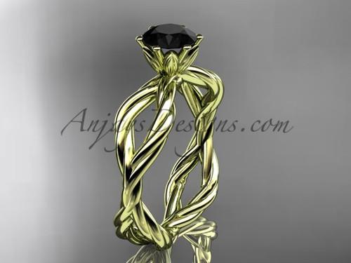 14kt yellow gold Black Diamond rope engagement ring RP8100