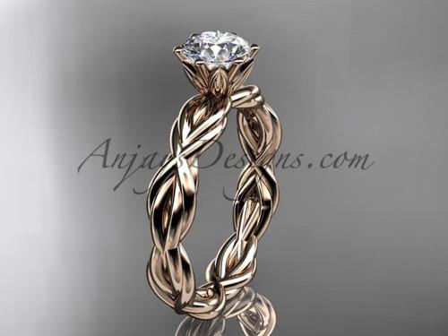 14kt rose gold rope engagement ring RP8101 | AnjaysDesigns