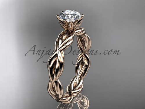 14kt rose gold rope moissanite engagement ring RP8101