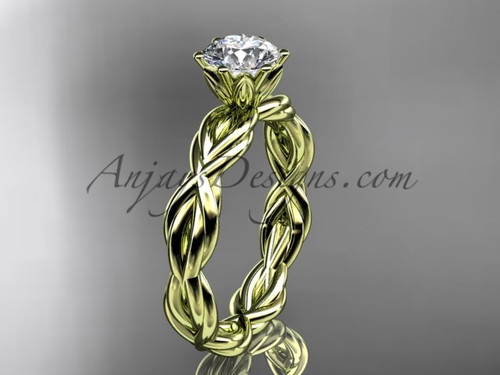 14kt yellow gold rope moissanite engagement ring RP8101