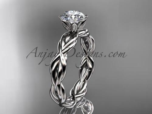 platinum rope moissanite engagement ring RP8101