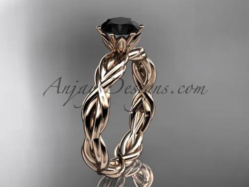 14kt rose gold rope  Black Diamond engagement ring RP8101