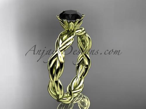 14kt yellow gold rope  Black Diamond engagement ring RP8101