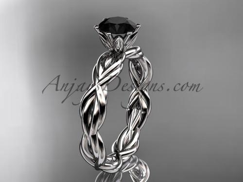 Platinum rope  Black Diamond engagement ring RP8101