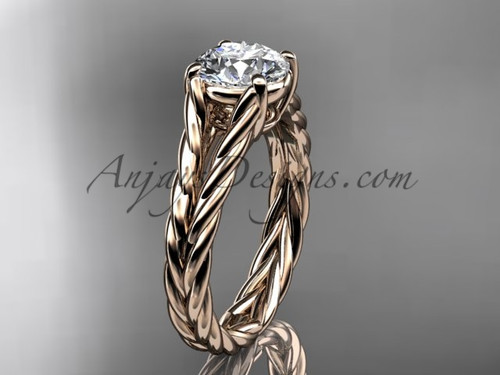 14kt rose gold rope engagement ring RP8108 | AnjaysDesigns