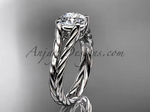 14kt white gold rope Moissanite engagement ring RP8108