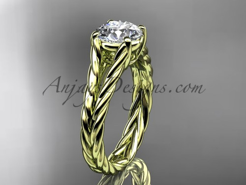 14kt yellow gold rope Moissanite engagement ring RP8108