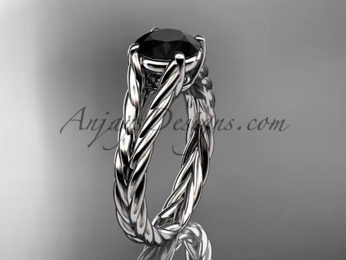 14kt white gold rope Black Diamond engagement ring RP8108
