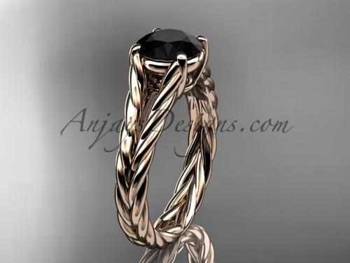 14kt rose gold rope Black Diamond engagement ring RP8108