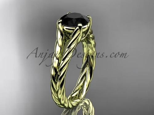 14kt yellow gold rope Black Diamond engagement ring RP8108