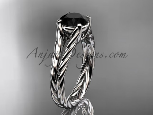 Platinum rope Black Diamond engagement ring RP8108
