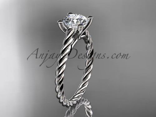 14kt white gold rope sapphire engagement ring RP8116