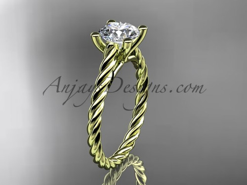 14kt yellow gold rope sapphire engagement ring RP8116